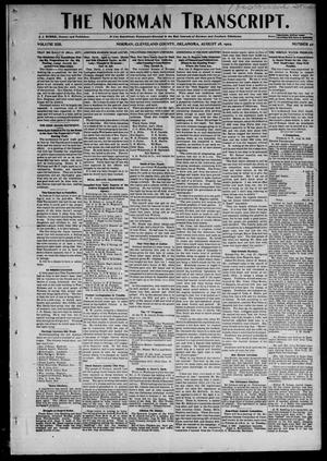 Primary view of object titled 'The Norman Transcript. (Norman, Okla.), Vol. 13, No. 42, Ed. 1 Thursday, August 28, 1902'.