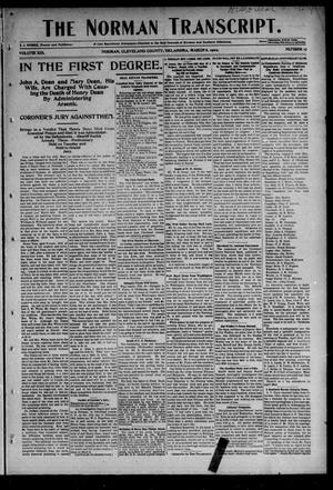 Primary view of object titled 'The Norman Transcript. (Norman, Okla.), Vol. 13, No. 17, Ed. 1 Thursday, March 6, 1902'.