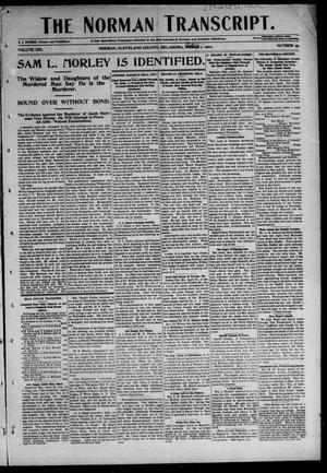 Primary view of object titled 'The Norman Transcript. (Norman, Okla.), Vol. 13, No. 25, Ed. 1 Thursday, May 1, 1902'.