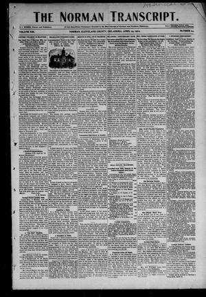 Primary view of object titled 'The Norman Transcript. (Norman, Okla.), Vol. 13, No. 24, Ed. 1 Thursday, April 24, 1902'.