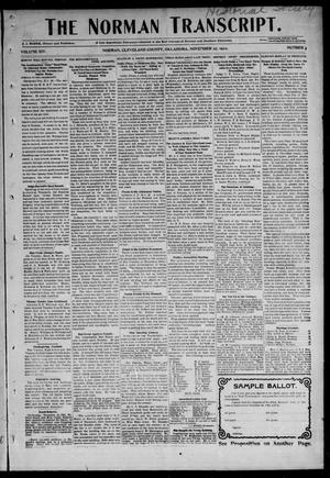 Primary view of object titled 'The Norman Transcript. (Norman, Okla.), Vol. 14, No. 3, Ed. 1 Thursday, November 27, 1902'.
