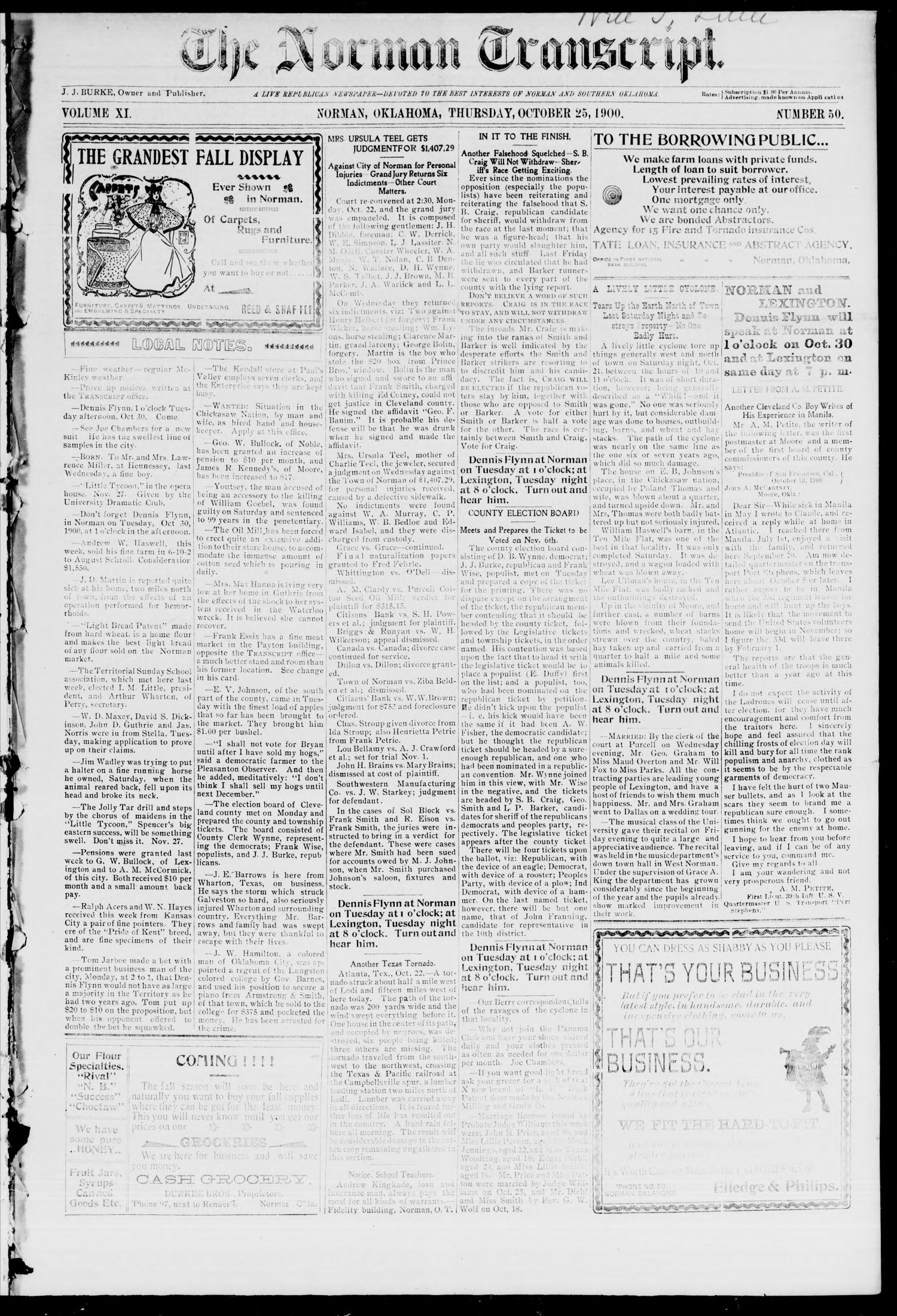 The Norman Transcript. (Norman, Okla.), Vol. 11, No. 50, Ed. 1 Thursday, October 25, 1900                                                                                                      [Sequence #]: 1 of 4