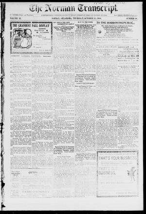 Primary view of object titled 'The Norman Transcript. (Norman, Okla.), Vol. 11, No. 50, Ed. 1 Thursday, October 25, 1900'.