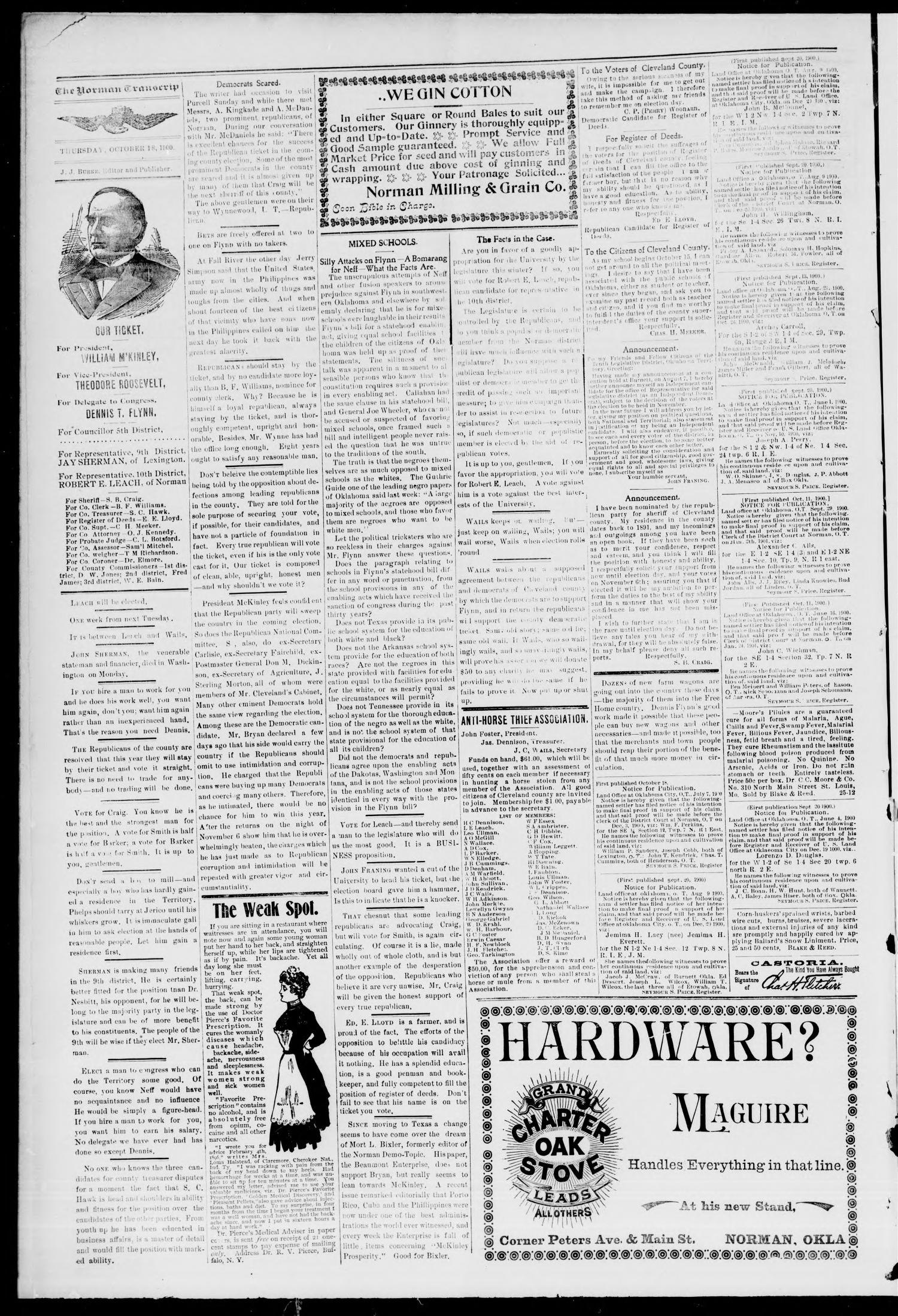The Norman Transcript. (Norman, Okla.), Vol. 11, No. 50, Ed. 1 Thursday, October 25, 1900                                                                                                      [Sequence #]: 4 of 4