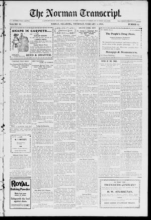 Primary view of The Norman Transcript. (Norman, Okla.), Vol. 11, No. 12, Ed. 1 Thursday, February 1, 1900