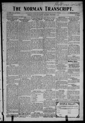 Primary view of object titled 'The Norman Transcript. (Norman, Okla.), Vol. 14, No. 5, Ed. 1 Thursday, December 11, 1902'.