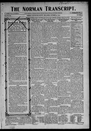 Primary view of object titled 'The Norman Transcript. (Norman, Okla.), Vol. 13, No. 51, Ed. 1 Thursday, October 30, 1902'.