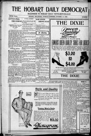 Primary view of object titled 'The Hobart Daily Democrat (Hobart, Okla.), Vol. 5, No. 79, Ed. 1 Tuesday, October 16, 1906'.