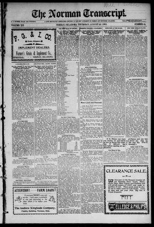 Primary view of object titled 'The Norman Transcript. (Norman, Okla.), Vol. 12, No. 41, Ed. 1 Thursday, August 22, 1901'.