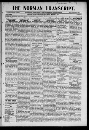 Primary view of object titled 'The Norman Transcript. (Norman, Okla.), Vol. 13, No. 18, Ed. 1 Thursday, March 13, 1902'.