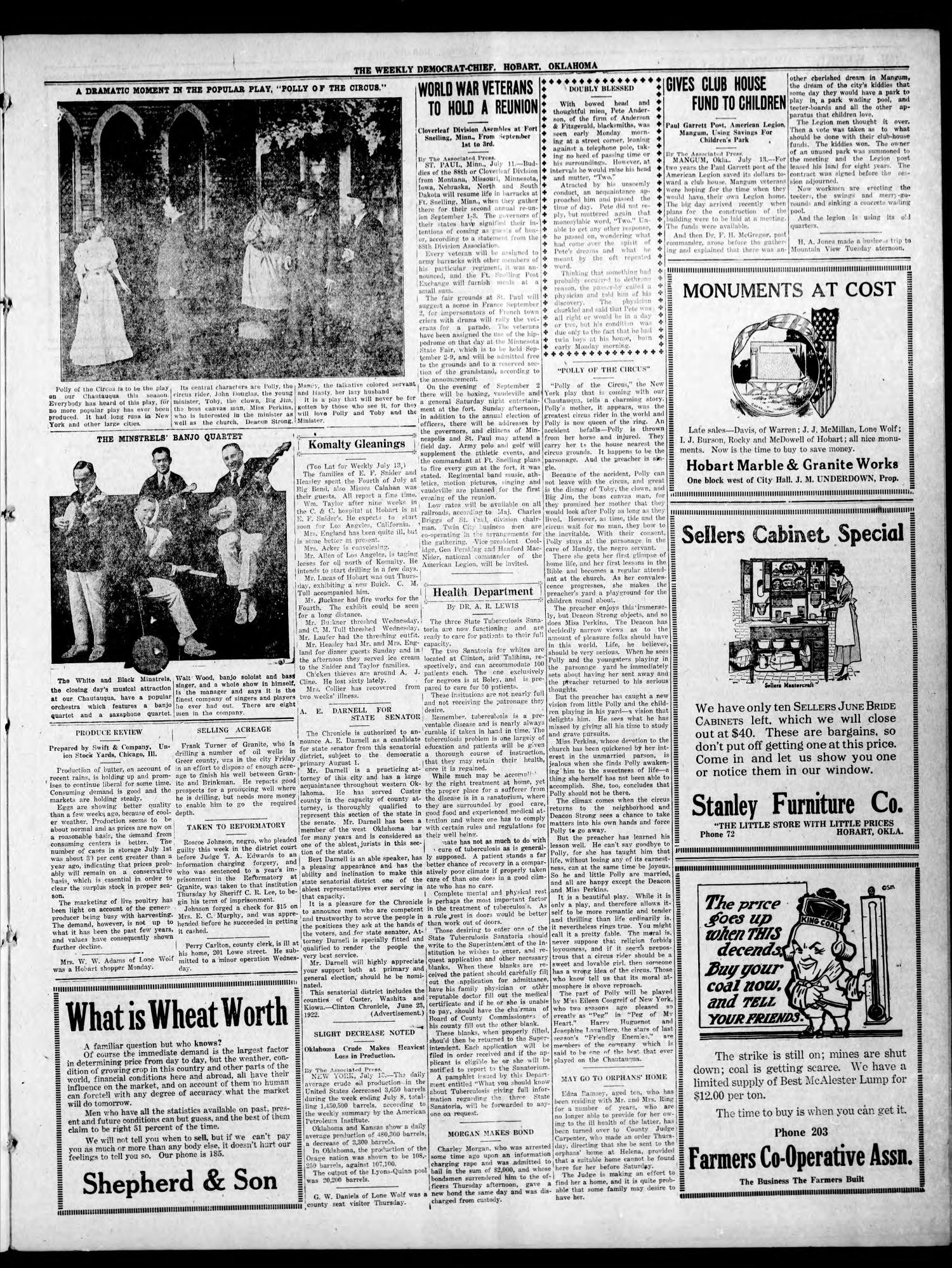 The Weekly Democrat-Chief (Hobart, Okla.), Vol. 21, No. 51, Ed. 1 Thursday, July 20, 1922                                                                                                      [Sequence #]: 3 of 8
