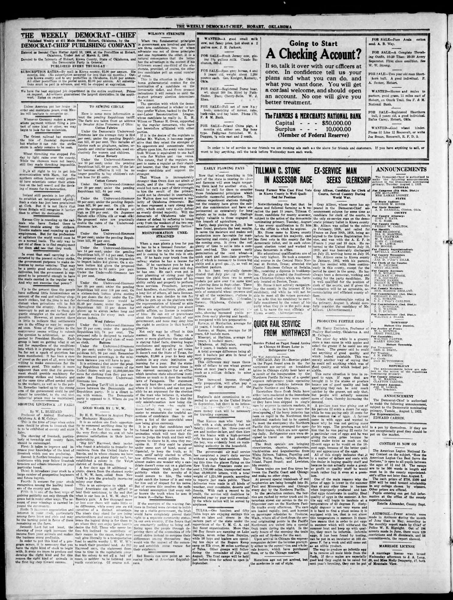 The Weekly Democrat-Chief (Hobart, Okla.), Vol. 21, No. 51, Ed. 1 Thursday, July 20, 1922                                                                                                      [Sequence #]: 4 of 8