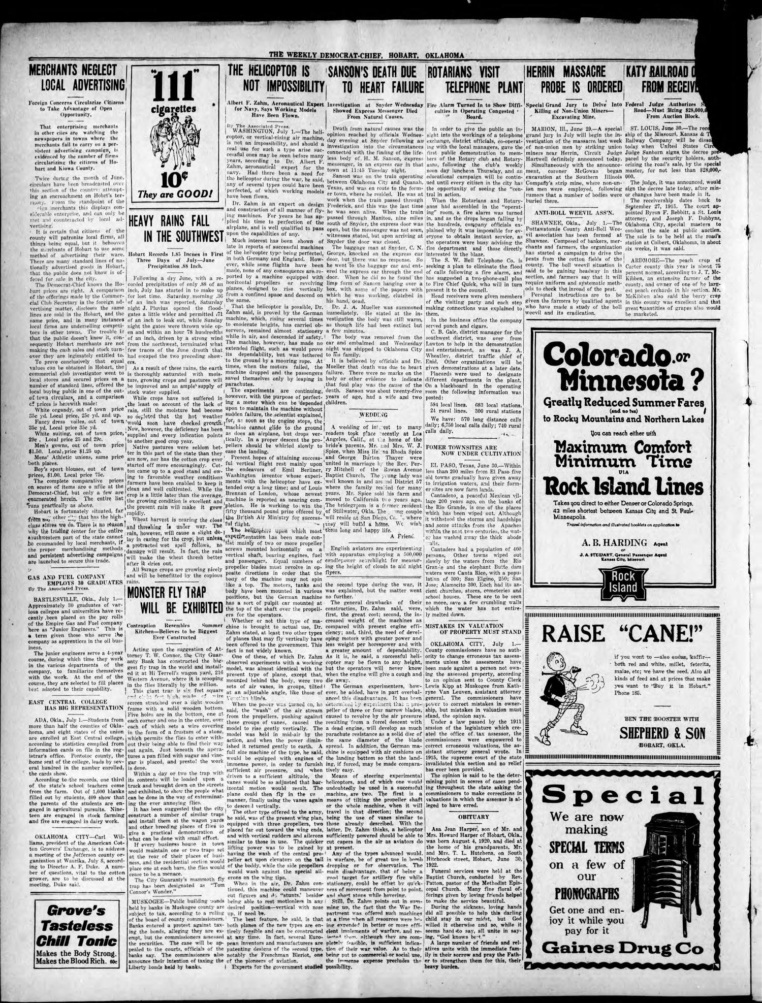 The Weekly Democrat-Chief (Hobart, Okla.), Vol. 21, No. 49, Ed. 1 Thursday, July 6, 1922                                                                                                      [Sequence #]: 2 of 8