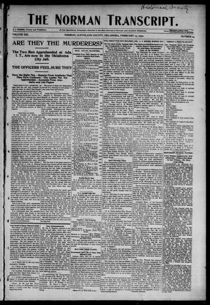 Primary view of object titled 'The Norman Transcript. (Norman, Okla.), Vol. 13, No. 14, Ed. 1 Thursday, February 13, 1902'.