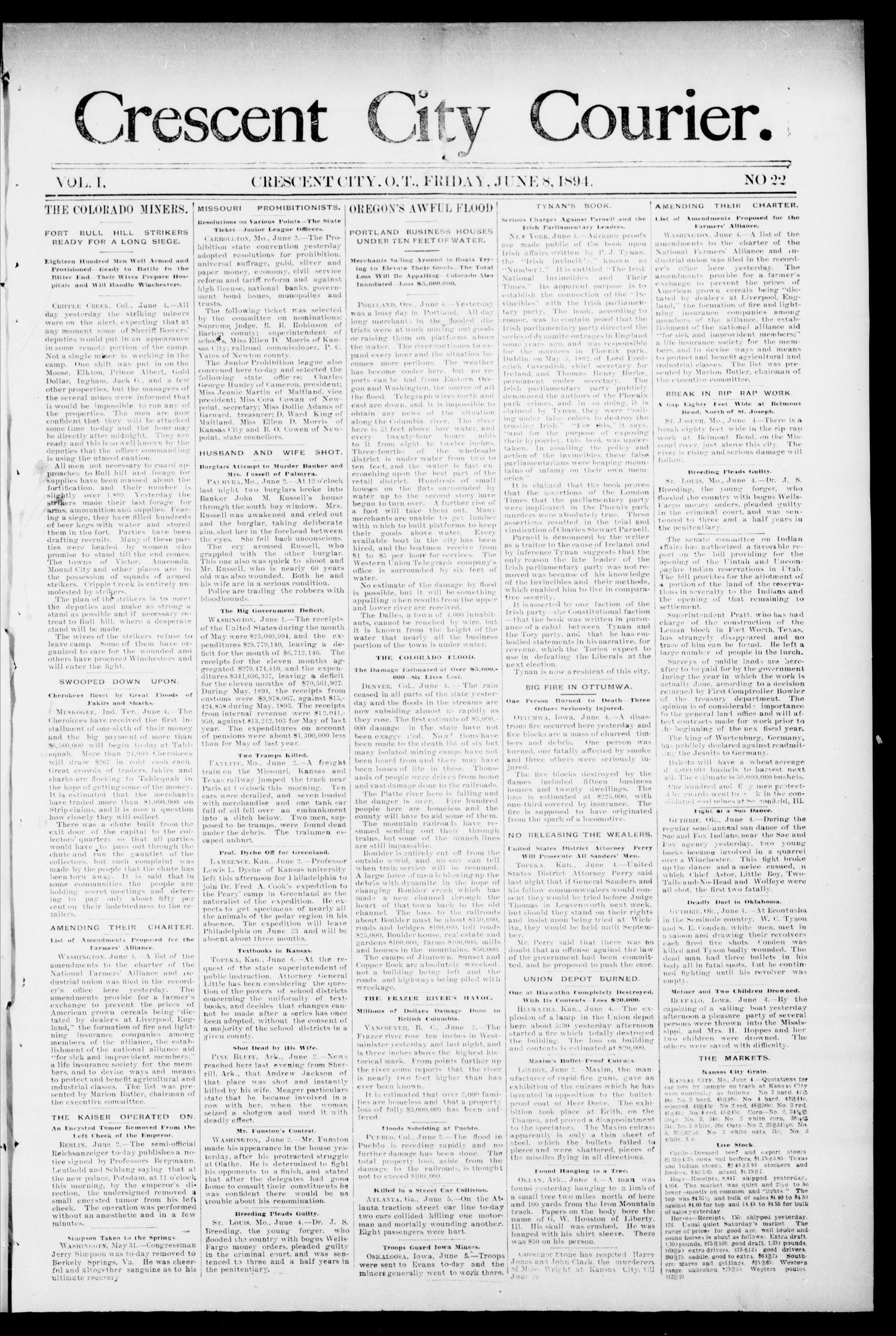 Crescent City Courier. (Crescent City, Okla. Terr.), Vol. 1, No. 22, Ed. 1 Friday, June 8, 1894                                                                                                      [Sequence #]: 1 of 6