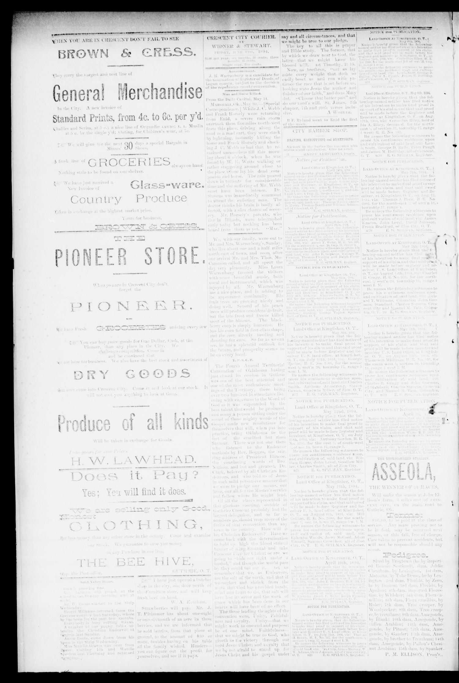 Crescent City Courier. (Crescent City, Okla. Terr.), Vol. 1, No. 22, Ed. 1 Friday, June 8, 1894                                                                                                      [Sequence #]: 2 of 6