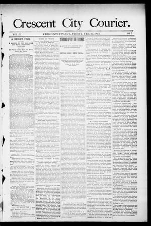 Primary view of object titled 'Crescent City Courier. (Crescent City, Okla. Terr.), Vol. 2, No. 7, Ed. 1 Friday, February 22, 1895'.