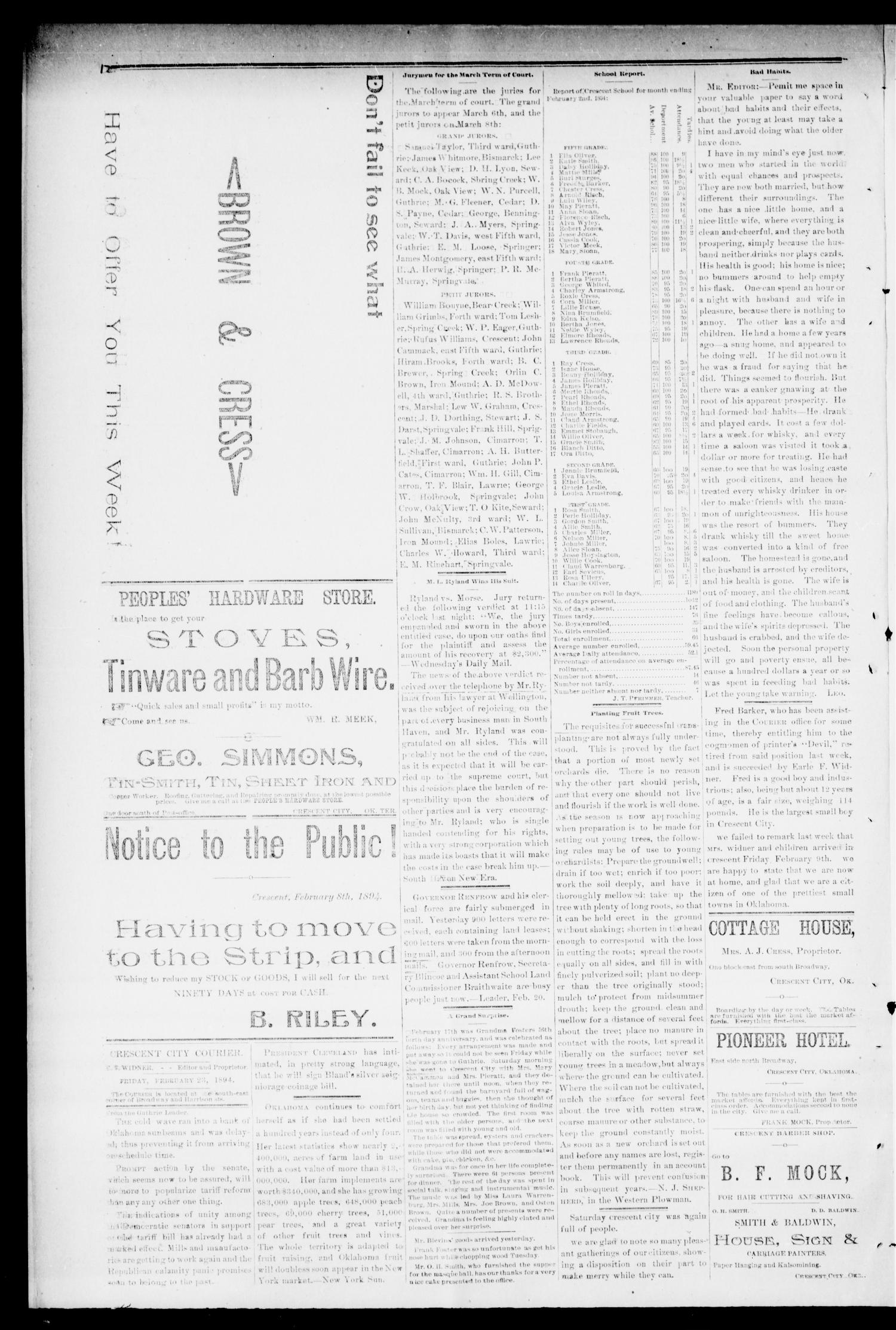 Crescent City Courier. (Crescent City, Okla. Terr.), Vol. 1, No. 7, Ed. 1 Friday, February 23, 1894                                                                                                      [Sequence #]: 2 of 4