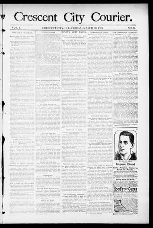 Primary view of object titled 'Crescent City Courier. (Crescent City, Okla. Terr.), Vol. 1, No. 12, Ed. 1 Friday, March 30, 1894'.