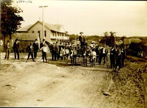 Primary view of object titled 'Men in Front of the Old Atoka Hotel'.