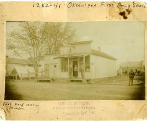 Primary view of object titled 'First Okmulgee Drug Store'.