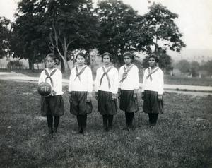 Primary view of object titled 'Women's Basketball Team at the Sequoyah orphan's Training School'.