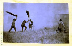 Primary view of object titled 'Men Heading Off a Prairie Fire near Darlington'.