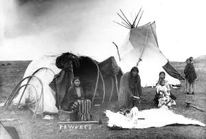 Primary view of object titled '5057. Pawnee Woman Preparing a Skin at Camp'.