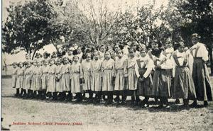 Primary view of object titled 'Pawnee Indian School girls.'.