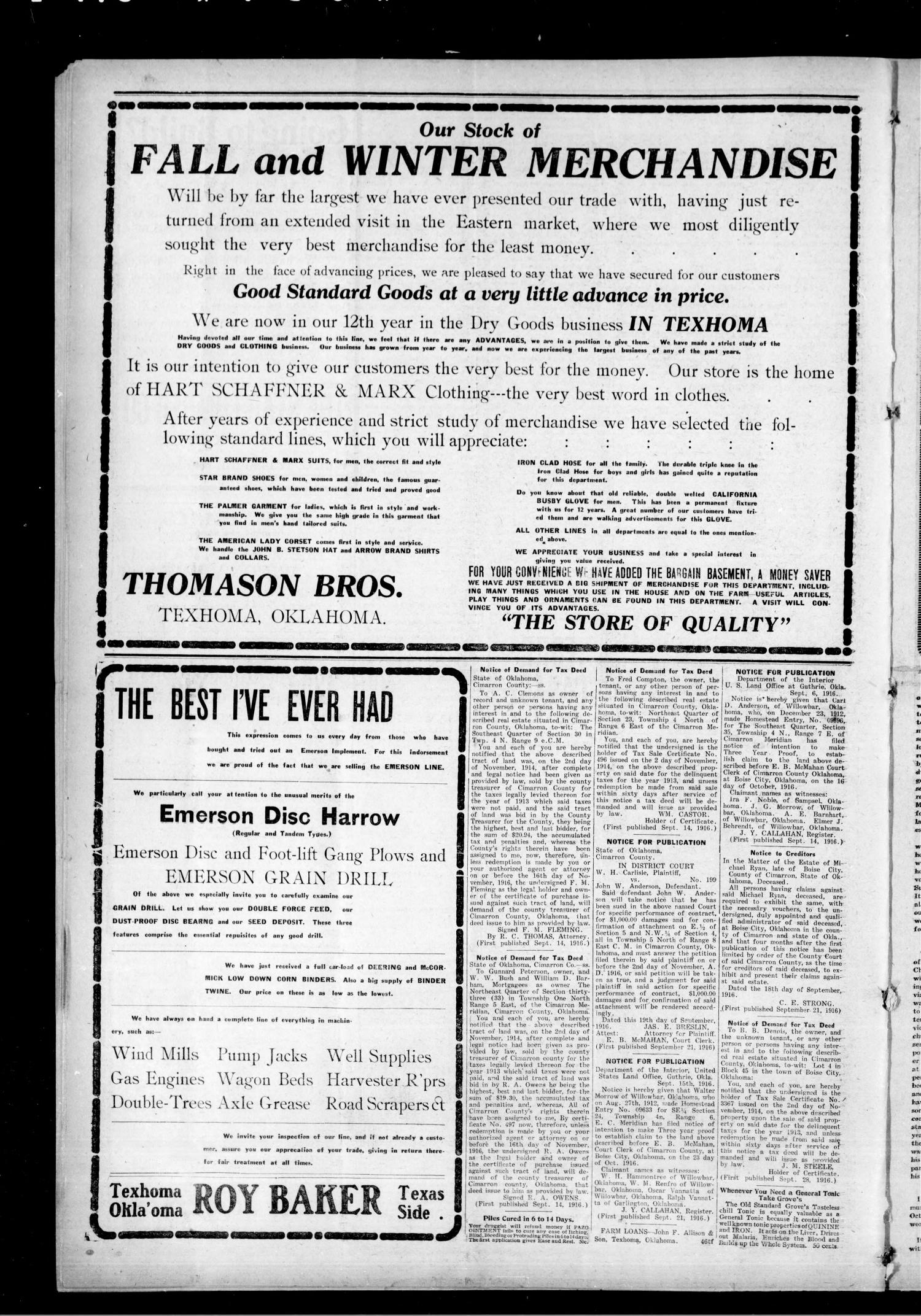 The Cimarron News. (Boise City, Okla.), Vol. 19, No. 10, Ed. 1 Thursday, September 28, 1916                                                                                                      [Sequence #]: 4 of 4