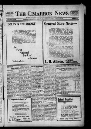 Primary view of object titled 'The Cimarron News. (Boise City, Okla.), Vol. 15, No. 13, Ed. 1 Thursday, October 10, 1912'.