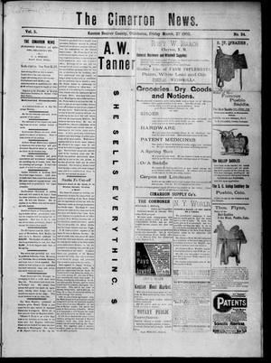 Primary view of object titled 'The Cimarron News. (Kenton, Okla.), Vol. 5, No. 34, Ed. 1 Friday, March 27, 1903'.