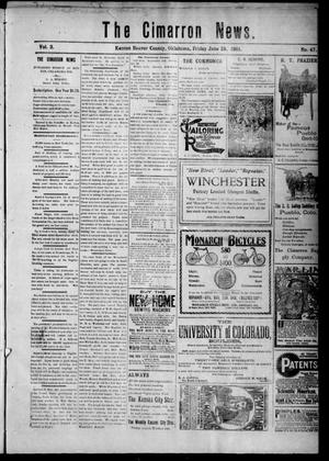 Primary view of object titled 'The Cimarron News. (Kenton, Okla.), Vol. 3, No. 47, Ed. 1 Friday, June 28, 1901'.