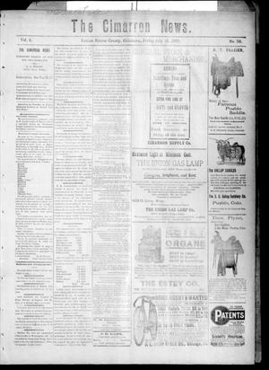 Primary view of object titled 'The Cimarron News. (Kenton, Okla.), Vol. 4, No. 50, Ed. 1 Friday, July 18, 1902'.