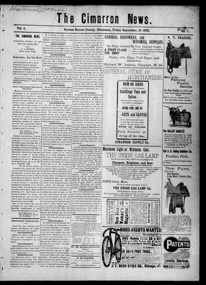 Primary view of object titled 'The Cimarron News. (Kenton, Okla.), Vol. 5, No. 7, Ed. 1 Friday, September 19, 1902'.