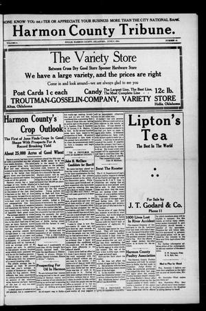 Primary view of object titled 'Harmon County Tribune. (Hollis, Okla.), Vol. 4, No. 41, Ed. 1 Friday, June 5, 1914'.