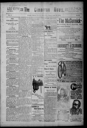 Primary view of object titled 'The Cimarron News. (Kenton, Okla.), Vol. 2, No. 45, Ed. 1 Friday, June 15, 1900'.