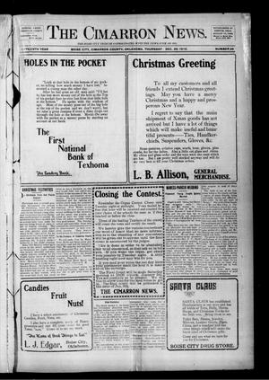 Primary view of object titled 'The Cimarron News. (Boise City, Okla.), Vol. 15, No. 24, Ed. 1 Thursday, December 26, 1912'.