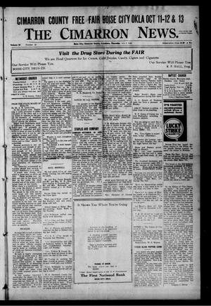 Primary view of object titled 'The Cimarron News. (Boise City, Okla.), Vol. 25, No. 10, Ed. 1 Thursday, October 5, 1922'.
