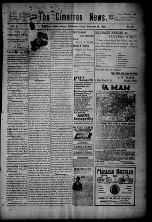 Primary view of object titled 'The Cimarron News. (Kenton, Okla.), Vol. 1, No. 29, Ed. 1 Friday, February 24, 1899'.