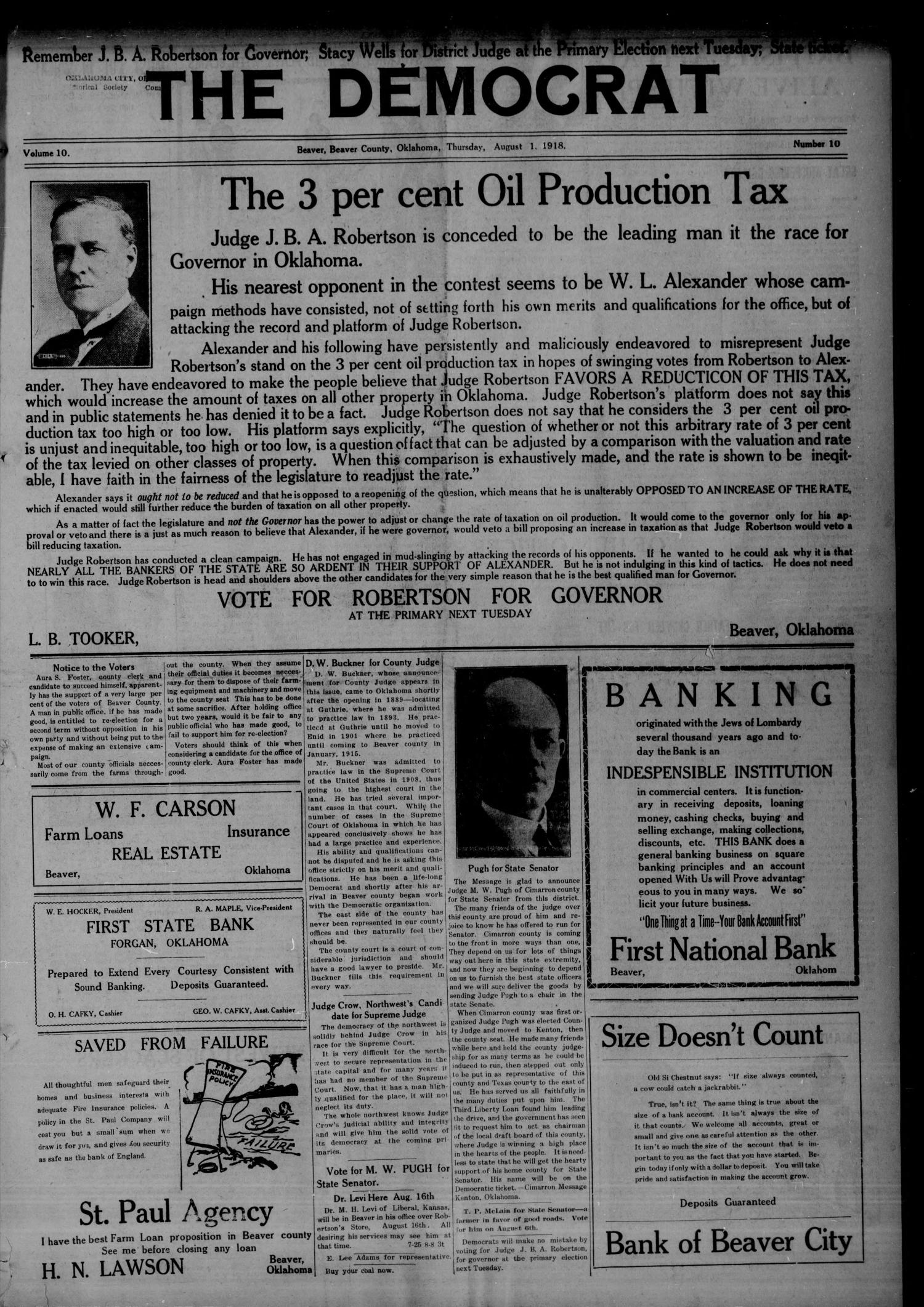 The Democrat (Beaver, Okla.), Vol. 10, No. 10, Ed. 1 Thursday, August 1, 1918                                                                                                      [Sequence #]: 1 of 8