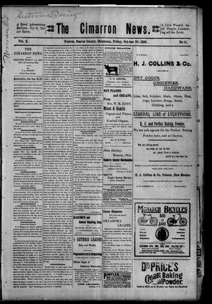 Primary view of object titled 'The Cimarron News. (Kenton, Okla.), Vol. 2, No. 11, Ed. 1 Friday, October 20, 1899'.