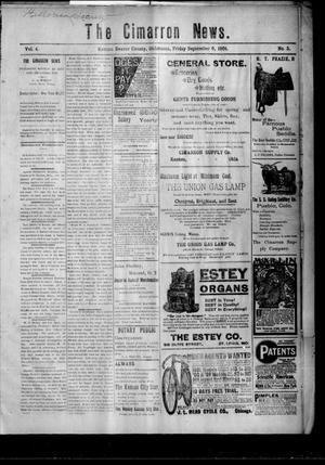 Primary view of object titled 'The Cimarron News. (Kenton, Okla.), Vol. 4, No. 5, Ed. 1 Friday, September 6, 1901'.