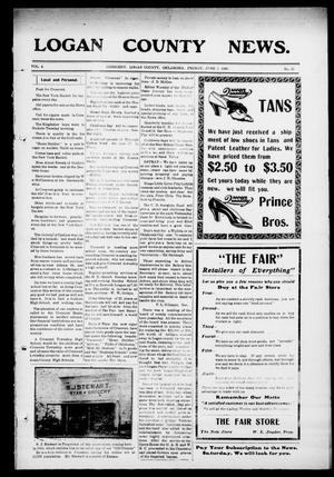 Primary view of object titled 'Logan County News. (Crescent, Okla.), Vol. 4, No. 31, Ed. 1 Friday, June 5, 1908'.