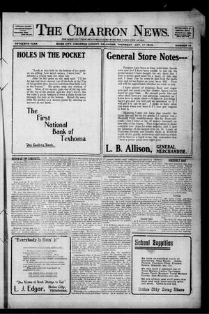 Primary view of object titled 'The Cimarron News. (Boise City, Okla.), Vol. 15, No. 14, Ed. 1 Thursday, October 17, 1912'.