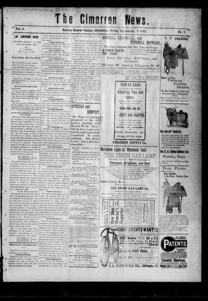 Primary view of object titled 'The Cimarron News. (Kenton, Okla.), Vol. 5, No. 5, Ed. 1 Friday, September 5, 1902'.