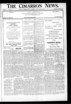 Primary view of object titled 'The Cimarron News. (Boise City, Okla.), Vol. 26, No. 37, Ed. 1 Thursday, April 10, 1924'.