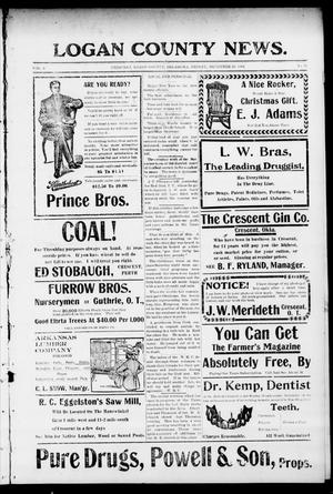 Primary view of object titled 'Logan County News. (Crescent, Okla.), Vol. 3, No. 19, Ed. 1 Friday, December 30, 1904'.