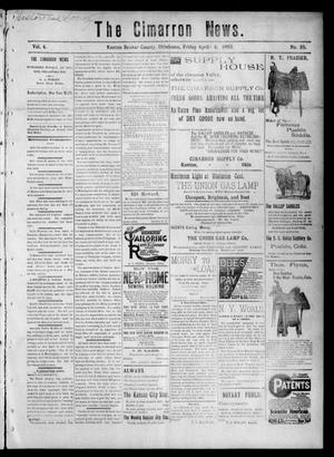 Primary view of object titled 'The Cimarron News. (Kenton, Okla.), Vol. 4, No. 35, Ed. 1 Friday, April 4, 1902'.