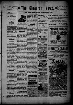 Primary view of object titled 'The Cimarron News. (Kenton, Okla.), Vol. 1, No. 12, Ed. 1 Friday, October 28, 1898'.